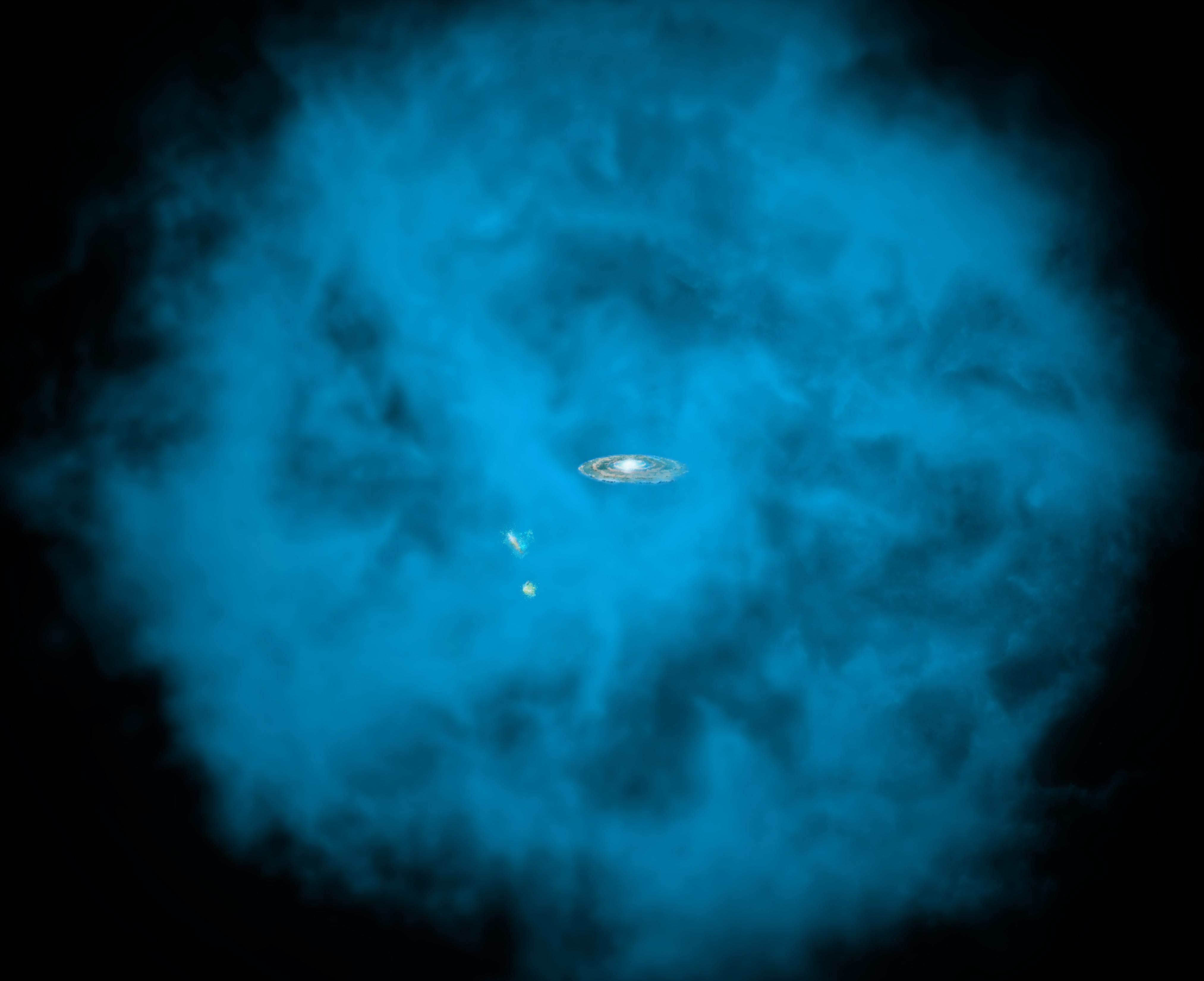 Samanyolu Galaksisi'nin etrafındaki sıcak halenin illüstrasyonu