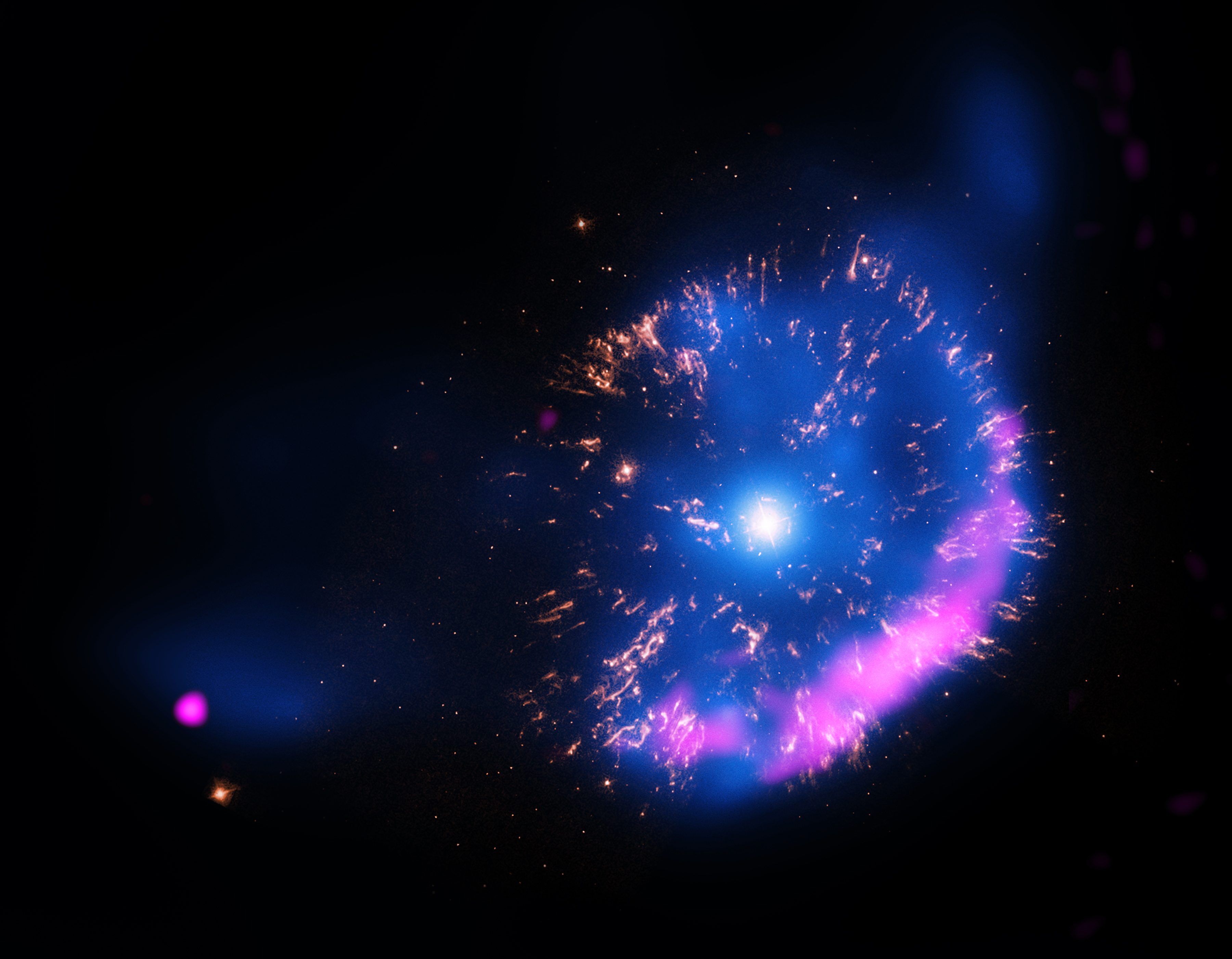 Nova GK Per'in kompozit X-ışın, optik ve radyo görseli.
