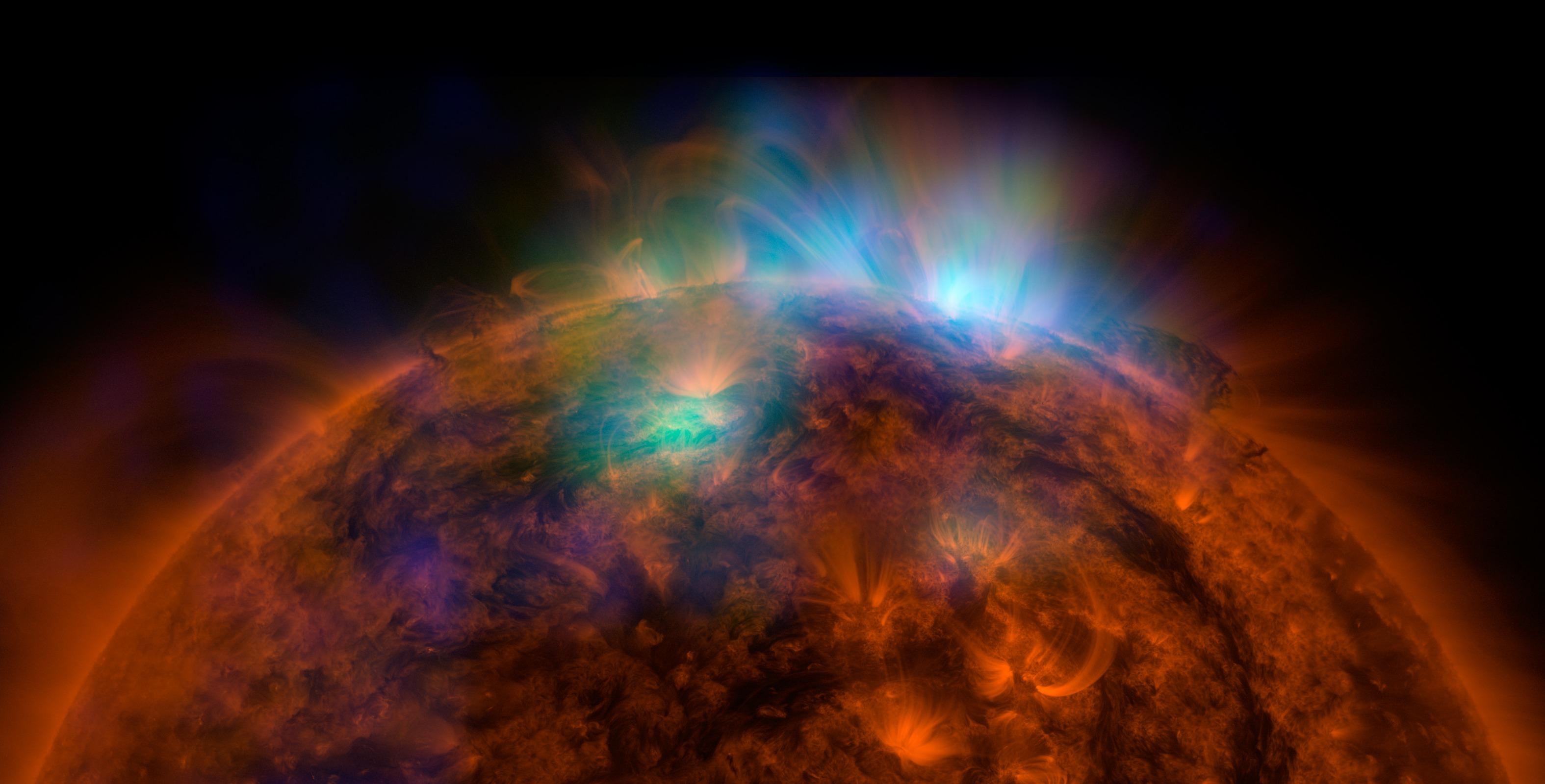 Güneş'in SDO ve NuSTAR görseli