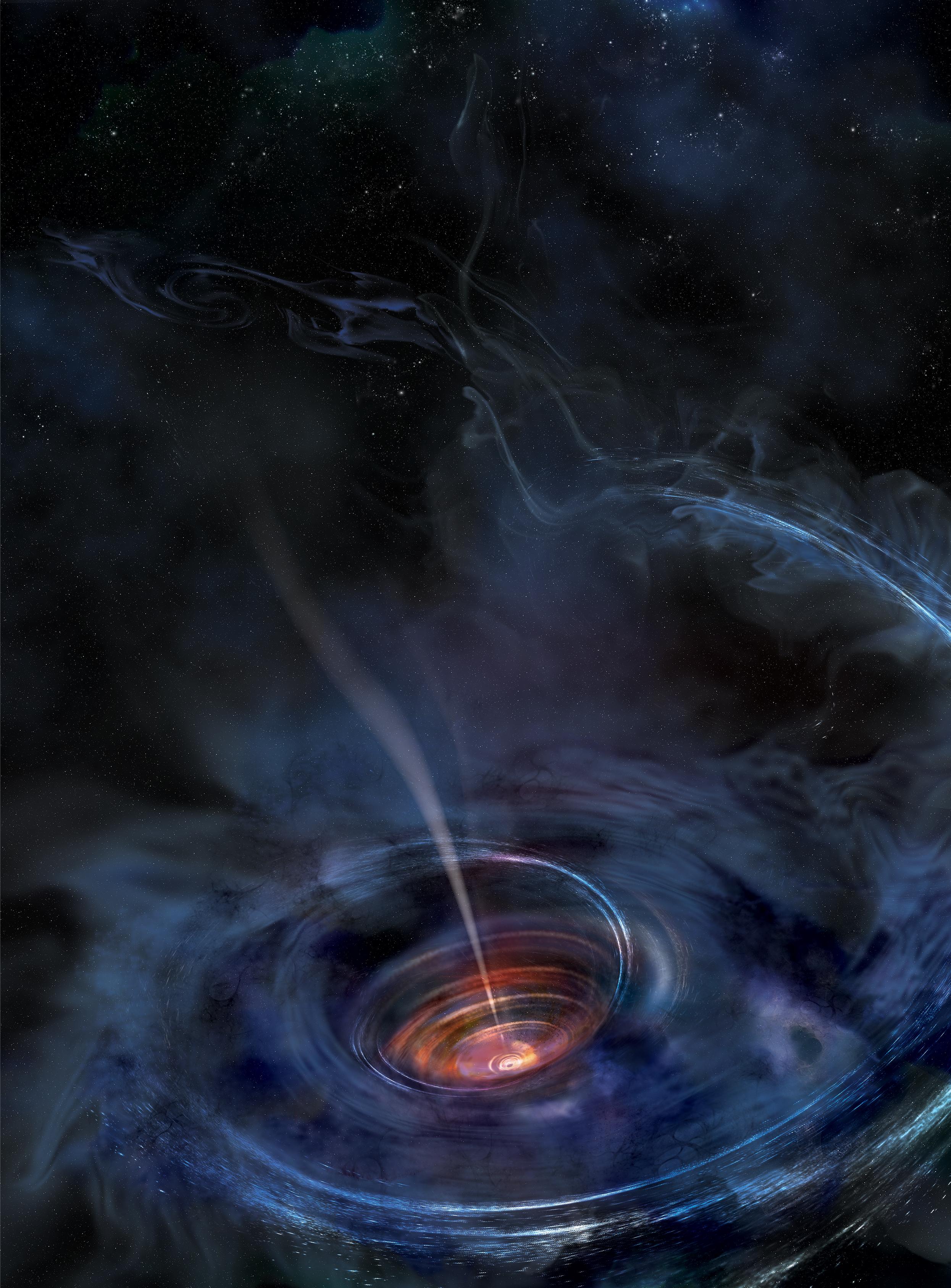 Bir kara delik bir yıldızı yuttuğu sırada oluşan geçici birikim diskinin illüstrasyonu