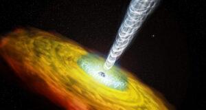 Parçacık jetleri ve madde diskiyle bir kuasar